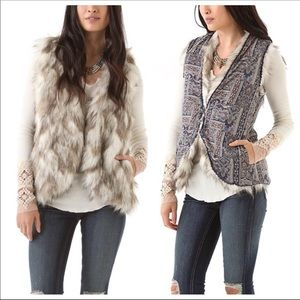 Free People Call of Wild Faux Fur Reversible Vest